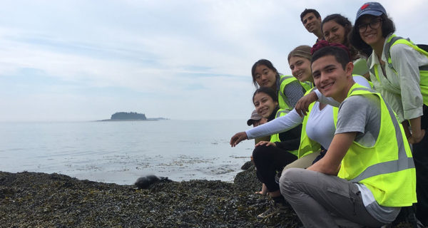 photo of students on maine coast