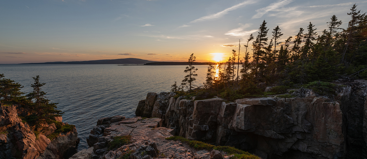 Beautiful sunset from Ravens Nest near Schoodic Point in Acadia National Park, Maine.