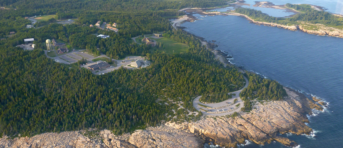 aerial photo of schoodic institute