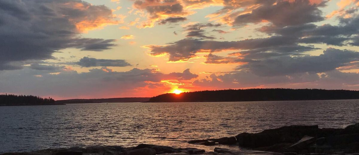 photo of sunset over maine coast