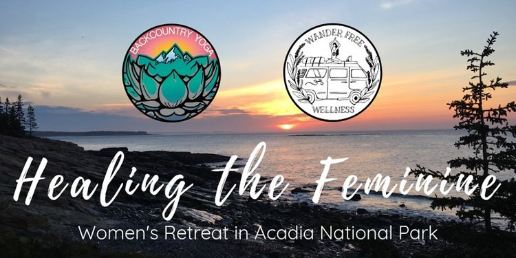 photo of healing the feminine women's retreat in acadia national park logo