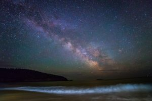 Milky Way over waves