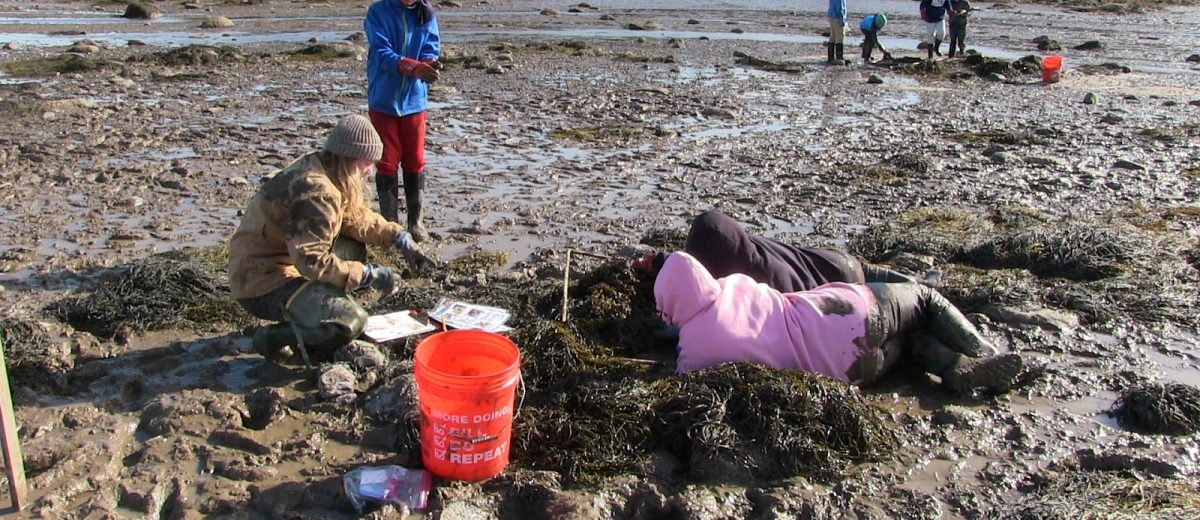 three students dig in the mud