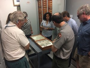people stand around a table in Acadia National Park archives where a wood and glass case of insect specimens is on display