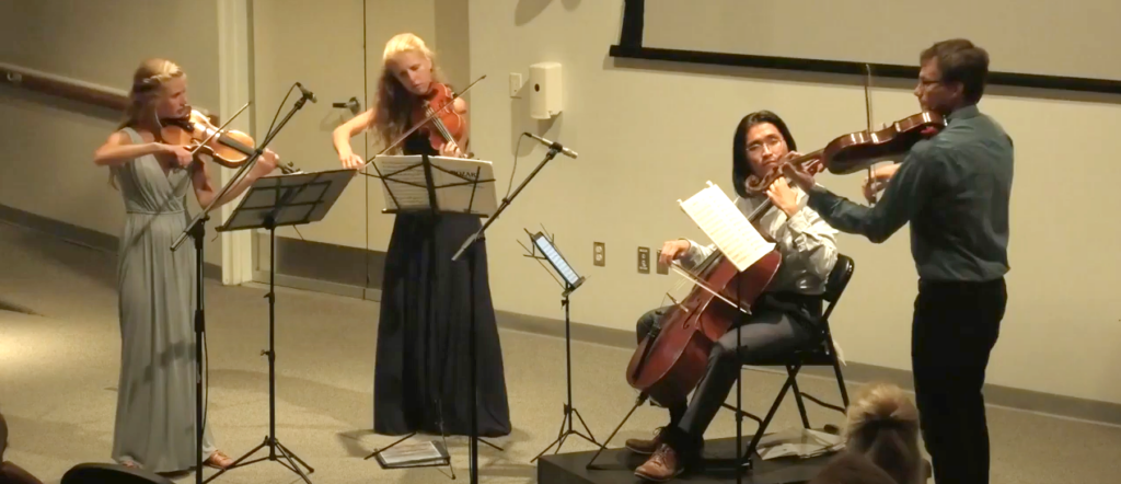 Photo of Halcyon String Quartet Playing at Schoodic Institute in 2019